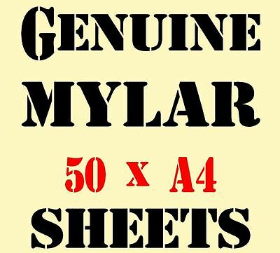 Genuine MYLAR STENCIL Blank Film Sheets 50 x A4 Great Price 125 micron Reuseable