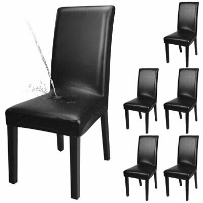 Waterproof Dinning Chair Covers PU Leather Durable Seat Cover Slipcovers Black