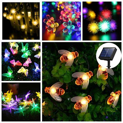 Solar LED Bee Flower Butterfly String Garden Fairy Lights Christmas Party Lamp