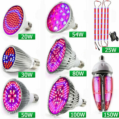 20W 30W 50W 54W 80W 100W LED Grow Light Bulb E27 Full Spectrum Hydroponics Plant