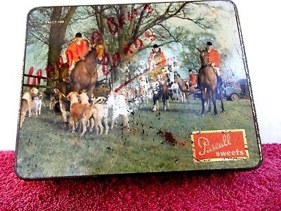 Old  Vintage  Pascall Sweets Tin  With Hunting Scene On Lid