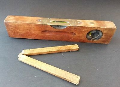 Vintage Rabone Birmingham England Box Wood Brass Folding Ruler And Spirit Level