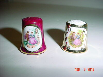 Lot Of Two (2) Victorian Scene Thimbles - Courting Couples - Unmarked