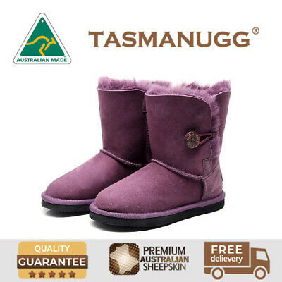 Tasman-Kids Button UGG Boots,Australian Made,Premium Australian Sheepskin,Purple
