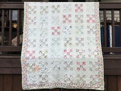 "Vintage Floral Nine Patch Hand Pieced Hand Quilted Quilt 51"" x 81"""