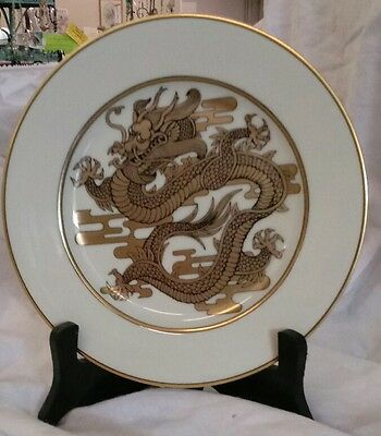 """Vintage Fitz and Floyd """"Dragon d'Or"""" Salad Plate Gold with Buff Background Mint"""