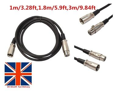 2018 1M/3Ft ~3M XLR Male To Female Balance 3pin MIC Cable Microphone Audio UK