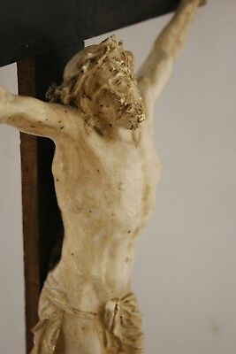 † 19Th Jesus Christ Finest Quality Plaster Corpus Wood Cross Crucifix France †