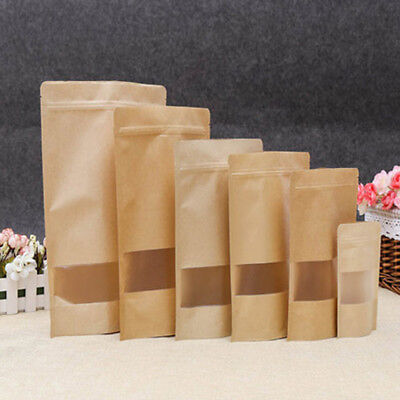 10X 30*40Waxed Kraft Paper Bags Food Tea Packaging Party Wedding Supply Portable