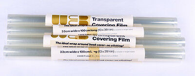 Book Covering Film 33cm x 1m Non Adhesive x 5 rolls
