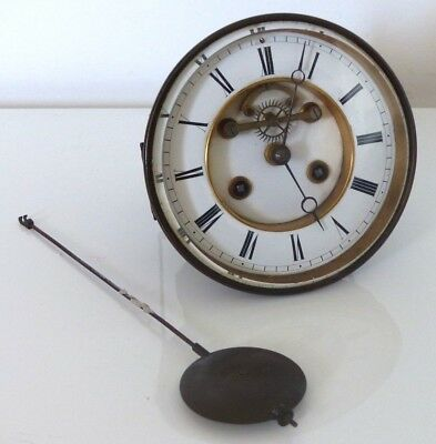 Large S.Marti Antique 5.5 Inch French Clock Movement + Pendulum –Spares / Repair