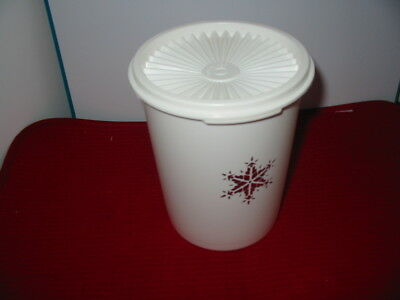 Tupperware Holiday White & Silver Canister 5 Cups Excellent Condition