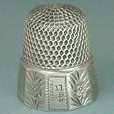 Antique Sterling Silver Flowers Band Thimble by Stern Bros. & Co. * Circa 1890s