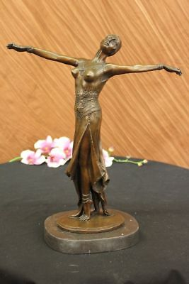 Bronze Art Deco Dancer Figurine Signed Chiparus French Nouveau Hot cast Figurine