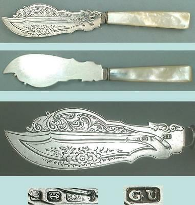 Antique Mother Of Pearl & Sterling Silver Butter Knife * Hallmarked 1860