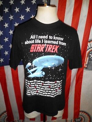 VTG 1994 Know About Life Learned From Star Trek Black Graphic T-Shirt LG 90s USA