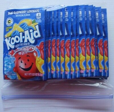 10 BLUE RASPBERRY LEMONADE Kool Aid Drink Mix summer pool