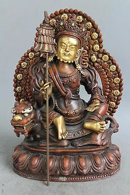 Rare Collecting China Tibet Ancient Red copper gilt Sculpture God of wealth
