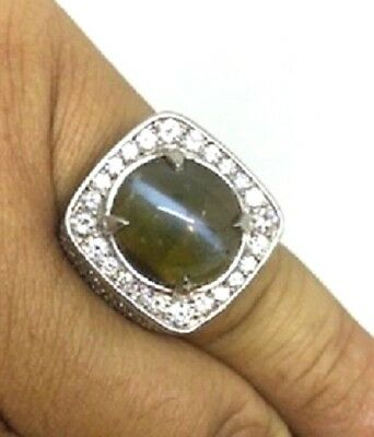 $32,500 Estate Natural Cats Eye Chrysoberyl Gents Ring 22.60Cts. Rare