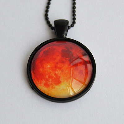 Blood Red Moon Photo Glass Pendant Necklace - Halloween Horror Fantasy Jewelry