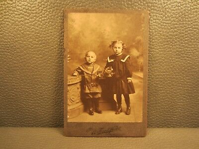 Victorian Antique Cabinet Card Photo of Brother and Sister, Kids, Children