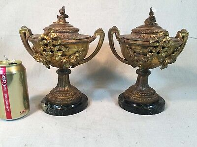 Antique Pair of French Mantel Urns w Green Marble Base Foundry Seal Spelter
