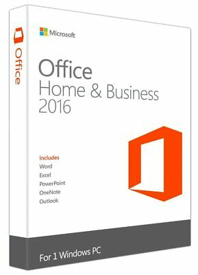 Microsoft Office Home and Business 2016 Windows Key & DVD Retail Box For 1 PC