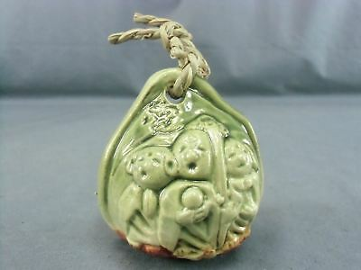 DR136 Japanese Dorei Ceramic Bell Clay Lost Souls Screaming Yakimono Green Vtg