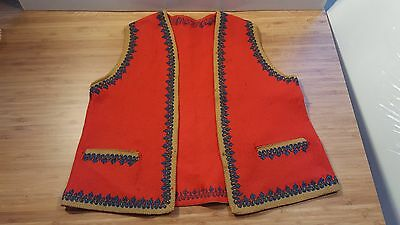 VTG Red Felt Vest BOY CHILD Made in ITALY 1900s Traditional Wear BLUE TRIM