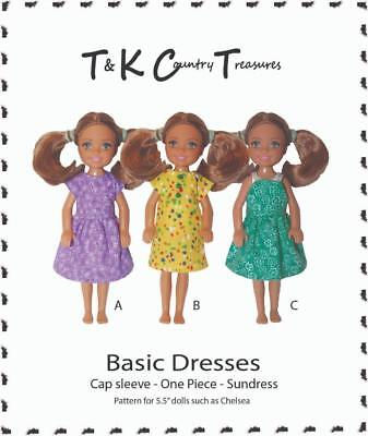 """Sewing Pattern for Chelsea 5.5"""" Doll Clothes by TKCT Dresses sundress"""