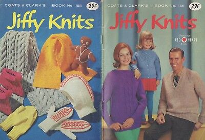 Vintage Coats & Clark's Jiffy Knits Knitting Patterns Sweater~Hats~Mittens~Socks