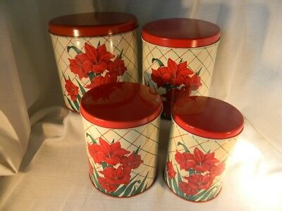 Vintage 1950s Set 4 TIN CANISTER SET with Lids Red Amaryllis Stacking Great!!