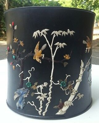 A Large Chinese Bamboo Brush Or Plant Pot With Hard Stone Inlay