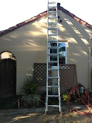 32 ft extension ladder, adjustable feet.