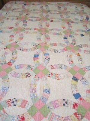 Vintage Double Wedding Ring Quilt 78 X 82""