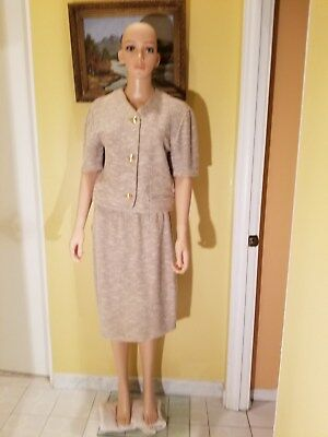 St. John By Marie Gray  Knit Textured Beige Skirt Suit ,size 12