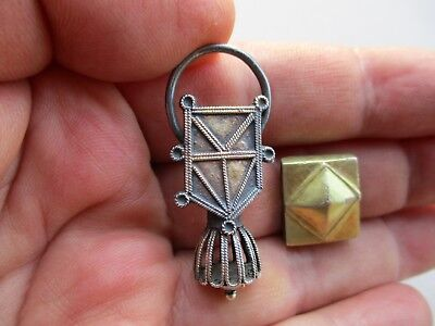 ancient Middle Ages silver gilt pendant & silver gilt Crusader square decoration