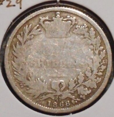 British Silver Shilling - 1868 Die #29 - Queen Victoria - $1 Unlimited Shipping