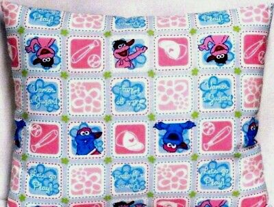 Sesame Street Toddler Pillow on Pink&Blue squares 100%Cotton #18-15 New Handmade