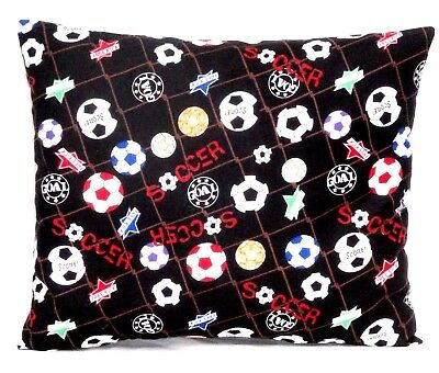 Toddler Pillow Soccer Balls on Black 100%Cotton SB2-3 New handmade