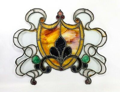 Late 19Th C Antique Victorian Window Leaded Stained Glass Fleur- De- Lis (As-Is)