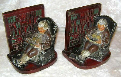 Antique Heavy Cast Metal Iron 1920's JUDD Foundry Bookends Father Knickerbocker