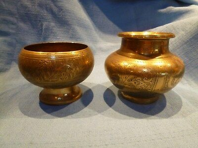 Two Vintage Indian Brass Pots, One Rose Bowl, One Vase