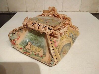 Antique Victorian Celluloid Trinket Box - Crocheted, Hand Made