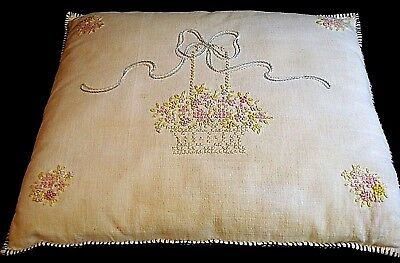 Vtg 1930's Embroidered Boudoir Pillow--Feather/Down Filled-Blanket Stitched Edge