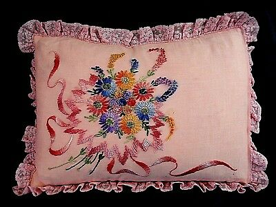 Antique Boudoir PINK Accent Pillow---Lavish Satin Embroidery--New Feather Insert