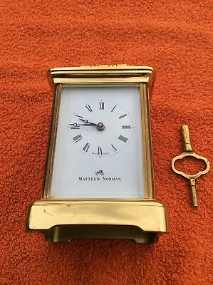 Matthew Norman 1754 brass carriage clock with key