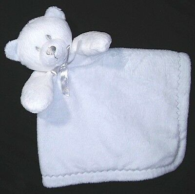 BLANKETS & BEYOND Baby Blue Bear Lovey Security Blanket Soother Grey White Gray