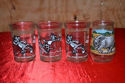 Vintage Welch's Jelly Glasses Tom & Jerry WWF Endangered Species Lot of 4