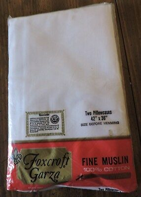 "Vintage Pillowcases.  Standard Size.  ""foxcroft Garza""..white Muslin..new"